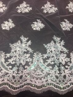 """WHITE MESH W/ COREDED FLORAL MULTI SEQUINS BRIDAL LACE FABRIC 50""""  WIDE 1 YD"""