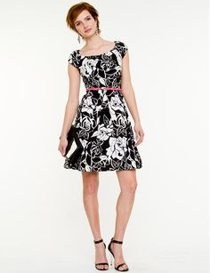 Floral Print Fit & Flare Dress, $89, Le Chateau