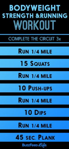 """""""The circuit workout below uses bodyweight exercises in between running intervals to challenge your muscles, heart, and lungs.""""—Jason Fitzgerald, 2:39 marathoner and founder of Strength RunningHow to do it:Warm up with 10 minutes of easy running. Then complete the circuit one to three times resting only as much as necessary. Substitute other movements depending on what kind of space and equipment you have available. Other movements to swap in: walking lunges, squat jumps, box jumps, mounta"""