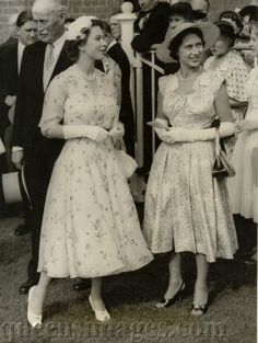 **1955 Ascot; H.M. Queen Elizabeth II and her sister H.R.H. Princess Margaret **