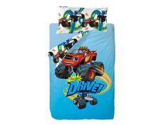 El saco nórdico infantil Blaze Drive, Blaze y las máquinas monstruo, tiene grandes dibujos de los personajes en el exterior y más pequeños en el interior.  Tiene fuelle y está unido a la bajera mediante cremallera.  De Gamanatura.