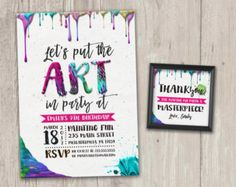 Put the ART in PARTY, Art Party Invitation, Painting Party, Art Invite | Birthday Invitation with FREE matching favor tags | Digital File