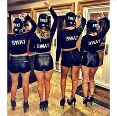 57 Easy College Halloween Costumes for Girls That Will Keep You Warm Easy College Halloween Costumes, Best Friend Halloween Costumes, Cute Costumes, Group Costumes, Halloween Outfits, Girl Costumes, Costume Ideas, Swat Team Costume, Mermaid Costumes
