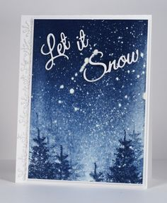 Let it snow Heather Telford Stamps: Prancers (PB) Creative Dies: Joyous Wishes, Snow Drops (PB) Inks:  Memento Nautical Blue (Imagine Craft/Tsukineko) Cardstock: Neenah Solar White 110lb cardstock,  Also: Winsor & Newton masking fluid