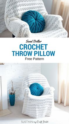 Sand Dollar Crochet Throw Pillow By Jane And Sonja - Free Crochet Pattern - (sustainmycrafthabit)