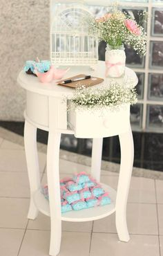 baby blessing, bençao de bebê, festa de criança, kids party, pink and blue, rosa e azul, mesa de doces, dessert table, decor, decoration, decoraçao.