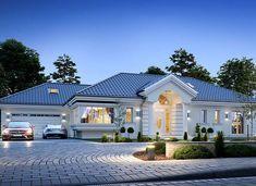 Willa Parkowa 6 - zdjęcie 1 Modern Bungalow Exterior, Classic House Exterior, Modern House Facades, Modern Bungalow House, Village House Design, Kerala House Design, Bungalow House Design, House Plans Mansion, My House Plans