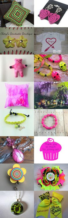 NEON~  Pink and Yellow- bright colors  by Ashley Guillot on Etsy--Pinned+with+TreasuryPin.com