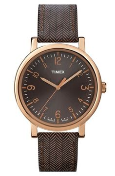 Timex® Round Tweed Print Leather Strap Watch, 38mm available at Nordstrom
