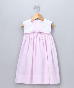 Petit Ami Light Pink Seersucker Sailor Dress - Toddler