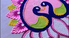 Akshay Tritiya peacock rangoli design l Muggulu kolam l Rangoli designs with colours l रंगोली डिजाइन Easy Rangoli Designs Videos, Easy Rangoli Designs Diwali, Simple Rangoli Designs Images, Rangoli Designs Latest, Free Hand Rangoli Design, Rangoli Border Designs, Small Rangoli Design, Rangoli Patterns, Rangoli Ideas