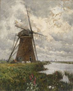 """""""In Windmill Land,"""" George Hitchcock, oil on canvas, 44 x 35-1/4"""", Heckscher Museum of Art."""
