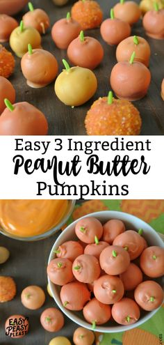 Easy 3 Ingredient Peanut Butter Pumpkins perfect for fall and Halloween Treats. #pumpkins #halloween #halloweentreats #easyhalloweentreats #peanutbutterballs #3ingredients