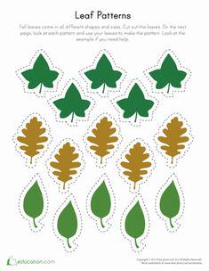 Preschool Weather & Seasons Worksheets: Printable Leaf Patterns