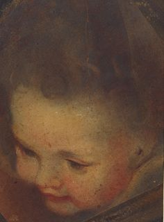 Federico Barocci (Urbino c. 1535-Urbino 1612) The head of an angel  c.1575-9 Oil paint on paper, over red and black chalk