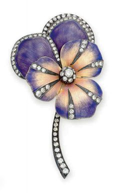 A gold, diamond and enamel brooch designed as a pansy; pansy = 'think of me/thoughts'. (Christies)