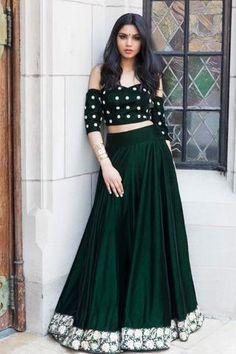 Youdesign Velvet Crop Top Lehenga In Dark Green Colour Size Upto 66 Party Wear Lehenga, Bridal Lehenga Choli, Choli Dress, Lehenga Gown, Saree, Indian Dresses, Indian Outfits, Look Fashion, Indian Fashion