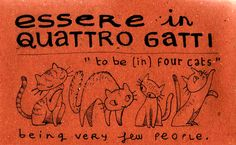 Essere in quattro gatti - to be in four cats (being very few people)