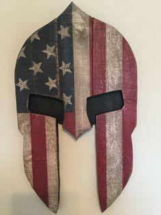 Rustic Wooden Spartan Helmet Flag Wall Hang by FaithFreedomMarket