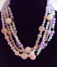 Amethyst Rose Quartz Sterling Silver Necklace 4 Multi Strand