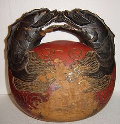 Antique Japanese Buddhist Wooden Mokugyo Temple Drum from Alley Cat Lane Antiques and Collectibles Exclusively on Ruby Lane