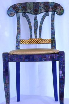 Mosaic Glass Peacock Chair by FORTIERgallery on Etsy, $995.00