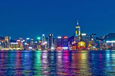 Night view of the east side of Hong Kong Island along Victoria Harbour from Kowloon. The lights were so bright and colourful!
