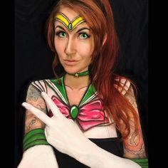 A close up of my Sailor Jupiter from my collab! Check it out a couple posts back to see all the other awesome ladies and their looks!  #mehron #fabpaint #circdehsonae #bodypaint #fxmua #fxmakeup #facepaint #redhead #sailormoon #sailorjupiter #anime #cartoon #cosplay #cosplaymakeup #collab #tattooedgirls #tattoos