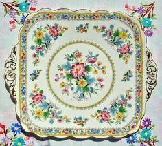 Foley China Ming Rose bone china cake plate with a beautiful, colourful oriental style floral pattern to buy UK Afternoon Tea Tables, Patterned Cake, Vintage Cake Stands, Garden Cakes, China Tea Sets, Antique Glassware, Square Cakes, Rose Cake, Cake Servings