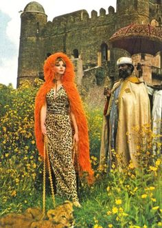 Maudi James in dress by Ken Scott, with the archbishop of Gondar in traditional robes. Photo by Norman Parkinson for Vogue UK's 'Ethiopia - the Land of the Lion', January 1969.