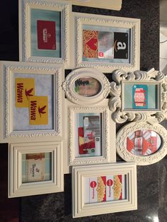 Auction basket idea for gift cards! Cute display and you get the frame! (Found it at HomeGoods)