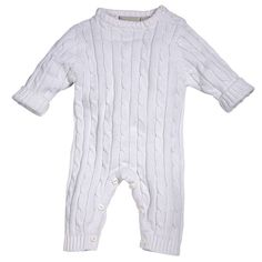 Cable Jumpsuit White 12 mos