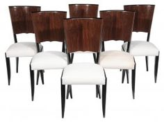 Set Of Six Art Deco Figured Walnut- dining chairs