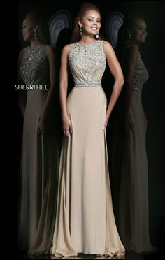2014 Sherri Hill 11069 Bodice Nude/Silver Scoop-Neck Long Beaded Evening Gowns