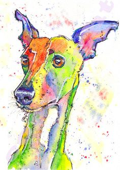 Whippet PRINT of Lurcher Greyhound Dog Picture of Original