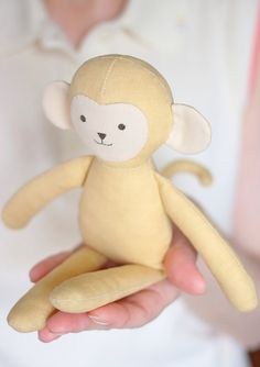 Sewing pattern for a cute little monkey. It's very quick and easy to make. The animal doll is 22 cm tall.  #etsy #animaldolls #dolls #softies #plushies #monkey #toypattern #monkeypattern #etsyfinds #sew #sewingproject #pattern