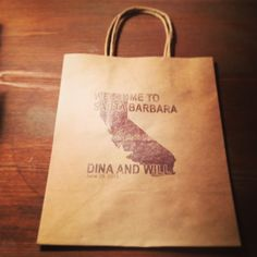 Wedding welcome bags designed and hand printed onto each bag