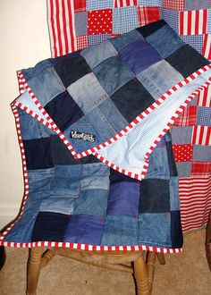 Recycled Denim Patchwork snuggle blanket with candystripes on Etsy, £45.00