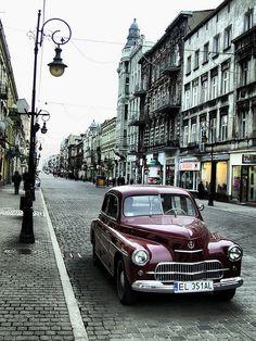 Warszawa w  Łodzi. Polish oldtimer 'Warsaw' in city of Lodz. Poland #lodz
