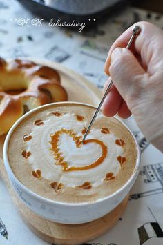 Beautiful foam art for a caramel latte! Perfect for Valentine's Day. #Love #VDay #Coffee #Art #MrCoffee