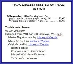 VIRGINIA UNION FARMER had quite a history. The Library of Congress bibliographic record shows that the Farmer-Leader eventually appears in the newspaper title: The Farmville Herald and Farmer-Leader.