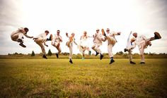 Funny Groomsmen Photo | Outdoor Bridal Party Shot | Destination Wedding Photography | Creative Wedding Photography | Dramatic Wedding Photography | KiKi Creates | Vintage Wedding Ideas | Jacksonville Beach Weddings | Florida Weddings