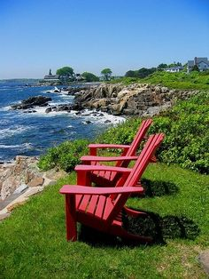 Kennebunkport, ME:  I would love to sit there in those chairs, bathed by the sun and the spray of the water.