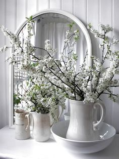 Spring, lovely collection & use of pitchers!