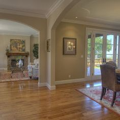 Dining Rooms With Arches Design, Pictures, Remodel, Decor and Ideas - page 2 concept kitchen living room Paint Area Rug Dining Room, Dining Room Design, Dining Rooms, Room Chairs, Benjamin Moore, Neutral Wall Colors, Paint Colors For Living Room, Arches, Great Rooms