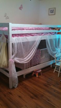 Toddler bunk bed with crib underneath turned princess bed