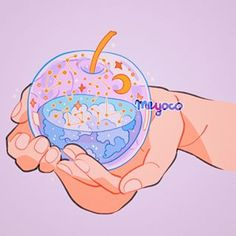 🍎 Dapple Apple 🍎 🌸 By Meyoco 🌸 Aesthetic Drawing, Aesthetic Anime, Aesthetic Art, Cute Kawaii Drawings, Kawaii Art, Cartoon Drawings, Kawaii Anime, Character Art, Character Design
