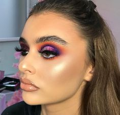 Natural Eye Brows | Glowy Skin | Highlight and Contour | Nude Lipstick and Gloss | Purple Orange Pink Eye shadow | Cut Crease Eye Look | Heavy Glam  #makeup #eyeshadow #cutcrease Pin: @amerishabeauty