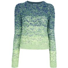 KENZO knit sweater blue green ($470) ❤ liked on Polyvore