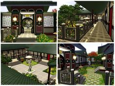 Mod The Sims - Chinese Courtyard House Courtyard House Plans, Front Courtyard, House Floor Plans, Sims 3, Feng Shui Doors, Tradition Of China, Bamboo In Pots, Chinese Courtyard, Opium Den